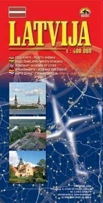 ŁOTWA mapa samochodowa 1:400 000 Briedis