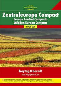 EUROPA ŚRODKOWA KOMPAKT atlas samochodowy 1:700 000 FREYTAG & BERNDT