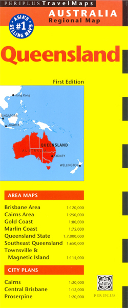 QUEENSLAND mapa PERIPLUS Bribane Cairns Gold Coast