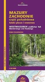 Mazury Zachodnie część południowa szlaki piesze i rowerowe mapa turystyczna 1:50 000 CartoMedia