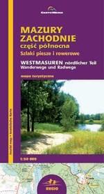 Mazury Zachodnie część północna szlaki piesze i rowerowe mapa 1:50 000 CartoMedia