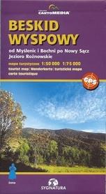 BESKID WYSPOWY od Myślenic po Nowy Sącz Jezioro Rożnowskie mapa turystyczna 1:50 000 Sygnatura / CARTOMEDIA