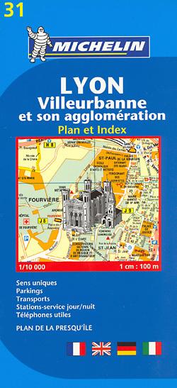 31 Lyon Villeurbanne plan miasta 1:10 000 MICHELIN