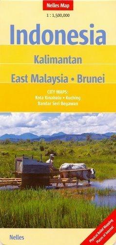 Indonezja Kalimantan Wschodnia Malezja Brunei mapa samochodowa 1:1 500 000 Nelles