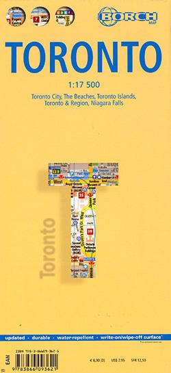 TORONTO plan miasta laminowany 1:17 500 BORCH MAP 2014