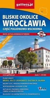 BLISKIE OKOLICE WROCŁAWIA cz. południowo - wschodnia mapa 1:50 000 PLAN