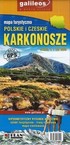 KARKONOSZE POLSKIE I CZESKIE mapa turystyczna PAPIEROWA 1:25 000 PLAN