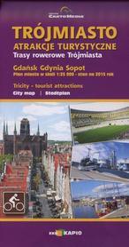 TRÓJMIASTO atrakcje turystyczne GDAŃSK GDYNIA SOPOT plan miasta 1:25 000 CARTOMEDIA 2015