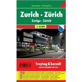 ZURYCH ZURICH plan miasta laminowany 1:10 000 FREYTAG & BERNDT
