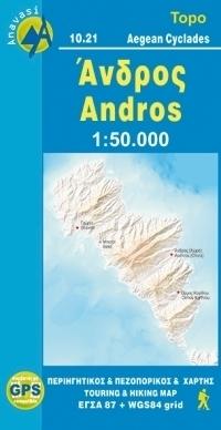ANDROS mapa turystyczna 1:50 000 ANAVASI GRECJA