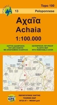 ACHAIA (PÓŁNOCNY PELOPONEZ) mapa regionu 1:100 000 ANAVASI GRECJA