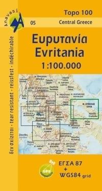 EURYTANIA (Evritania) mapa regionu 1:100 000 ANAVASI GRECJA