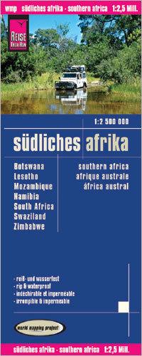 AFRYKA POŁUDNIOWA mapa 1:2 500 000 REISE KNOW HOW Botswana Lesotho Mozambik Namibia RPA Suazi Zimbabwe