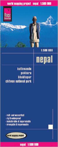 NEPAL + KATMANDU POKHARA BHAKTAPUR mapa 1:500 000 REISE KNOW HOW