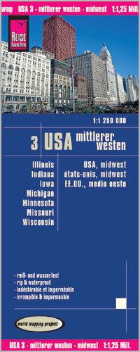USA CZ. 3 ŚRODKOWY ZACHÓD mapa 1:1 250 000 REISE KNOW HOW
