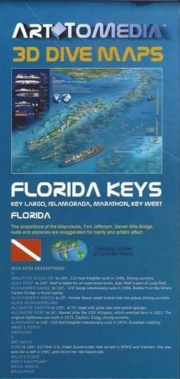 FLORIDA KEYS 3D DIVE MAPS mapa wodoodporna 1:140 000 FRANCO
