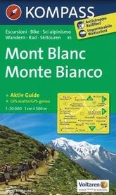 MONT BLANC wodoodporna mapa turystyczna rowerowa narciarska 1:50 000 KOMPASS