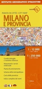 MEDIOLAN plan miasta i mapa prowincji 1:12 000 / 1:250 000 DeAGOSTINI