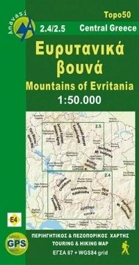GÓRY EWRYTANII mapa turystyczna 1:50 000 ANAVASI GRECJA
