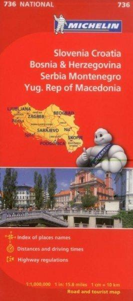 SŁOWENIA CHORWACJA BOŚNIA I HERCEGOWINA SERBIA CZARNOGORA MACEDONIA mapa samochodowa 1:1 000 000 MICHELIN 2013