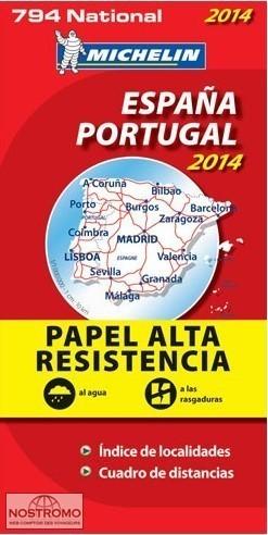 HISZPANIA PORTUGALIA mapa samochodowa wodoodporna 1:1 000 000 MICHELIN 2014