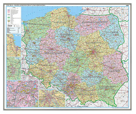 POLSKA mapa administracyjno drogowa 1: 700 000 magnetyczna 124x100cm
