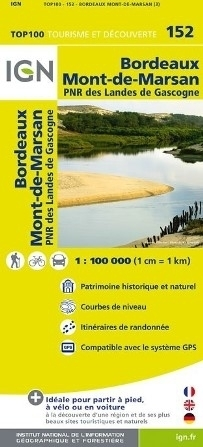 152 BORDEAUX MONT-DE-MARSAN mapa 1:100 000 IGN