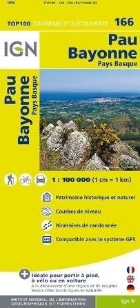 166 PAU / BAYONNE mapa 1:100 000 IGN