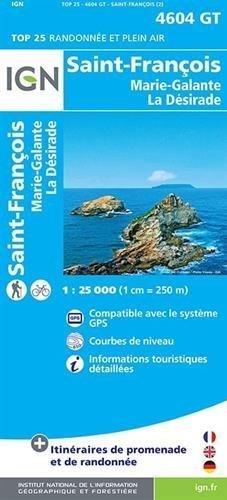 SAINT-FRANCOIS / MARIE-GALANTE / LA DESIRADE - GUADELOUPE mapa turystyczna IGN