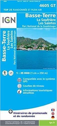 BASSE-TERRE / LA SOUFRIERE / LES SAINTES / PN DE LA GUADELOUPE - GUADELOUPE mapa turystyczna IGN