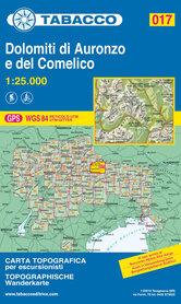 017 DOLOMITY AURONZO I COMELCIO mapa turystyczna 1:25 000 TABACCO