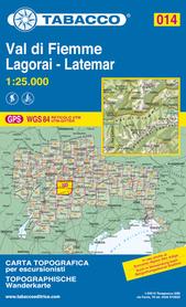 014 VAL DI FIEMME LAGORAI LATEMAR mapa turystyczna 1:25 000 TABACCO 2020