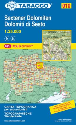 010 SEXTENER DOLOMITIEN mapa turystyczna 1:25 000 TABACCO
