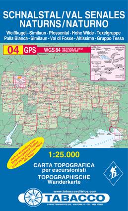 004 VAL SENALES - SCHNALSTAL - NATURNO - NATURNS mapa turystyczna 1:25 000 TABACCO