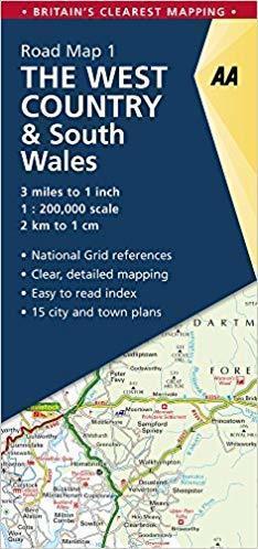 AA01 POŁUDNIOWA WALIA West Country & South Wales mapa samochodowa 1:200 000 AA