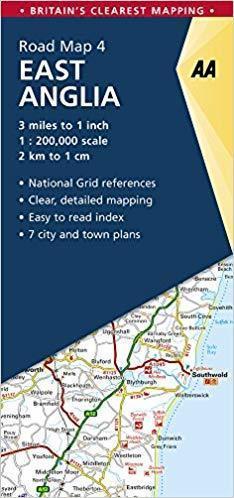 ANGLIA WSCHODNIA East England mapa samochodowa 1:200 000 AA