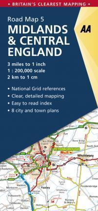 AA05 Midlands & Central England mapa samochodowa 1:200 000 AA