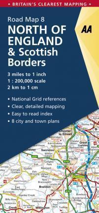 ANGLIA PÓŁNOCNA North England & Scottish Borders mapa samochodowa 1:200 000 AA