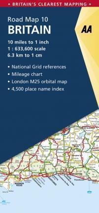 WIELKA BRYTANIA BRITAIN 10 mapa samochodowa 1:633 600 AA