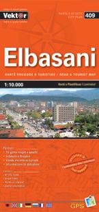 ELBASANI laminowany plan miasta VEKTOR ALBANIA