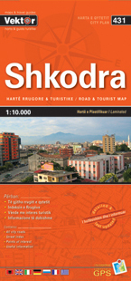 SHKODRA laminowany plan miasta VEKTOR ALBANIA