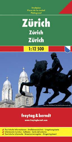 ZURYCH ZURICH plan miasta 1:12 500 FREYTAG & BERNDT