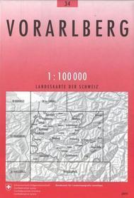 34 VORARLBERG mapa topograficzna 1:100 000 SWISSTOPO