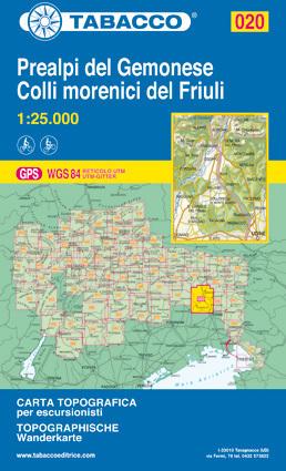 020 PREALPI DEL GEMONESE - COLLI MORENICI DEL FRIULI mapa turystyczna 1:25 000 TABACCO