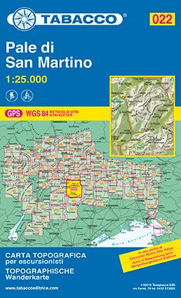 022 PALE DI SAN MARTINO mapa turystyczna 1:25 000 TABACCO