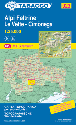 023 ALPI FELTRINE - LE VETTE - CIMONEGA mapa turystyczna 1:25 000 TABACCO