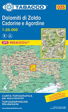 025 DOLOMITI DI ZOLDO CADORINE E AGORDINE mapa turystyczna 1:25 000 TABACCO