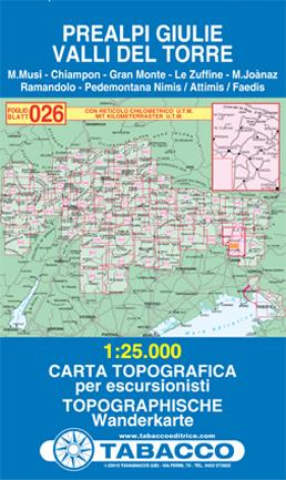 026 PREALPI GIULIE - VALLI DEL TORRE mapa turystyczna 1:25 000 TABACCO