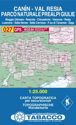 027 CANIN - VAL RESIA - PARCO NATURALE PREALPI GIULIE mapa turystyczna 1:25 000 TABACCO