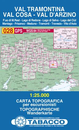 028 VAL TRAMONTINA - VALCOSA - VAL D'ARZINO mapa turystyczna 1:25 000 TABACCO